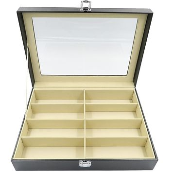 Evelots Glasses/Sunglasses/Jewelry Display Case-PU Leather-NO Scratch-8 Slots
