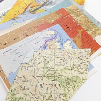 Map Collage papers, Vintage Map Scrap Pack, 40 pieces, Paper Ephemera pack, Collage pack, paper scraps, craft supplies, Scrap-booking