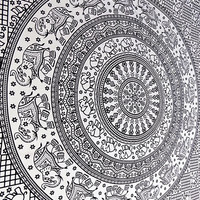 LARGE elephant mandala hippy tapestries, hippie bohemian wall hanging, indian boho bedding bedspread, ethnic mandala home decor