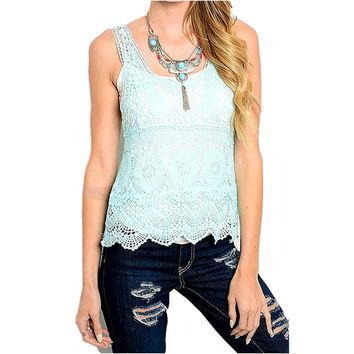 Sleeveless Crochet Top, Blue