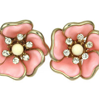 1950s Vintage Earrings, Pink Plastic Flowers with Rhinestone Centers, Free Shipping