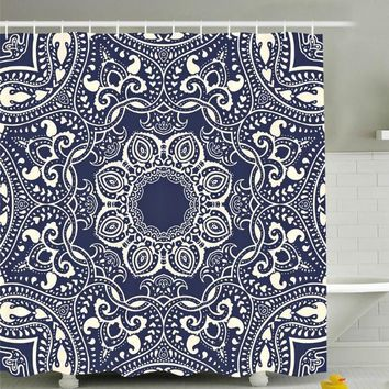 Lotus Flower Mandala Boho Navy Fabric Shower Curtain