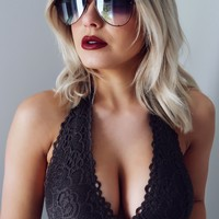 Lace Craze Bralette: Charcoal