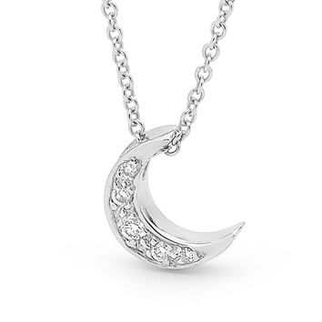 Diamond and White Gold Baby Crescent Moon Necklace, small white Gold and diamond moon pendant on a white gold chain