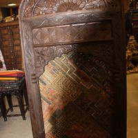 2 India Lotus Vintage Wooden Arches Jharokha Natural tEAK Wood Window Frame with Kutch Tapestries 18C HOTEL DESIGN