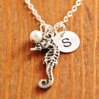 Seahorse Necklace - beach necklace, sea horse necklace, personalized necklace, initial necklace, ocean necklace