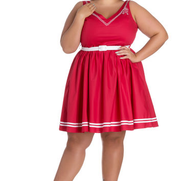 Hell Bunny Plus Size Pin-up Sailor Anchor & Rope V-neck Ariel Red Flare Dress