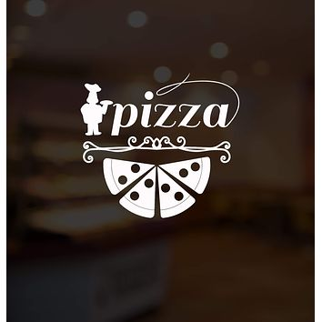 Vinyl Wall Decal Pizza Lettering Italian Pizzeria Fast Food Chef Decor Stickers Mural Unique Gift (ig5228)
