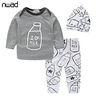 Baby Boys Clothes Set  Spring Autumn Newborn Baby Girl Clothing Long Sleeve T Shirt +Pant + Hat 3PCS/Set FF034