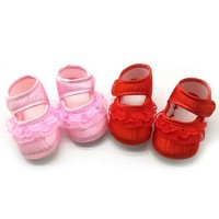 Baby White Bowknot Baby Girl Lace Shoes Toddler Prewalker Anti-Slip Shoe Simple Baby Shoes
