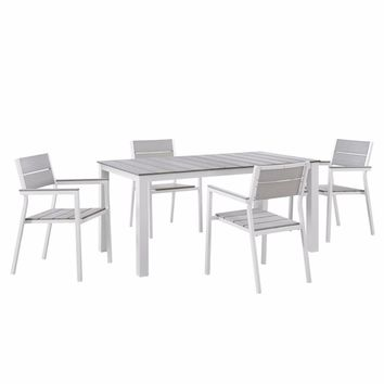 "Maine 5 Piece Outdoor Patio Dining Set, White Light Gray Size : 79.5""Lx107""Wx33""H"