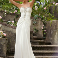 Chiffon Lace Up Beading Crystals Backless Wedding Dresses [WD-197] - AUD $359.51 :