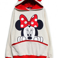 Cartoon Mickey Print Front Zip Pocket Jacket