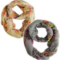 Peach Couture Paint The Town Red Cherry Blossom Floral Print Infinity loop Scarves 2 Pack Bright Peach & Bright Grey