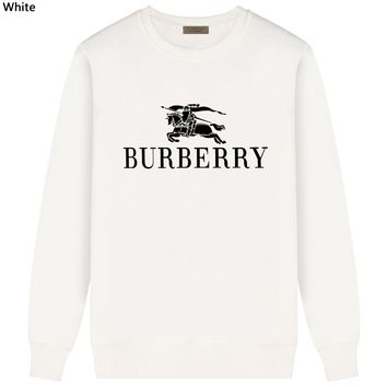 Burberry Tide brand classic horse print letter round neck long sleeve sweater white