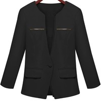 Gorgeous Solid Collarless Blazer - OASAP.com