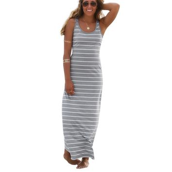 Tea Length Stripe Racerback Tank Dress