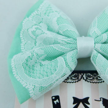 Pastel Mint Green Medium Fabric Hair Bow with White Lace Overlay and White Satin Ribbon -- Handmade Hair Clip