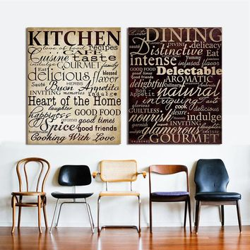 HDARTISAN Wall Pictures For Living Room Letter Painting Canvas Art Kitchen Words Home Decor No Frame