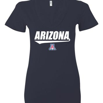 Official NCAA Venley University of Arizona Wildcats U of A Wilber Wildcat BEAR DOWN! Giants Style Baseball Tail Ladies Deep V-Neck - uofa1240