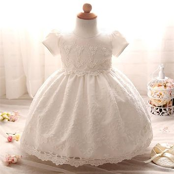 Summer Brand Princess White Baby Dress Lace Crochet Christening Gown For 1 2 Year Baby Girl Birthday Dress Infant Party Dresses