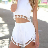 CUTE TASSEL TWO PIECE ROMPER
