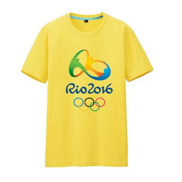 Commemorative Tees Rio 2016 Olympic Games Round Neck T-Shirt-Medium Yellow