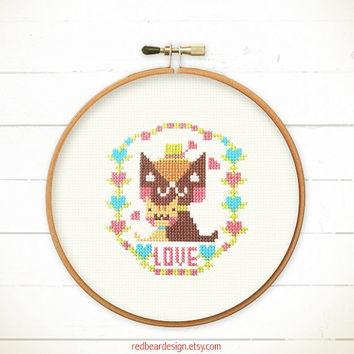 Kawaii cross stitch pattern - Happy Cats Together -xstitch Instant download - Kawaii brown cat, lovely ginger kitten Love hug sweet floral