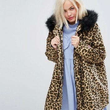 Lazy Oaf Oversized Parka Jacket In Purrfect Leopard Print at asos.com