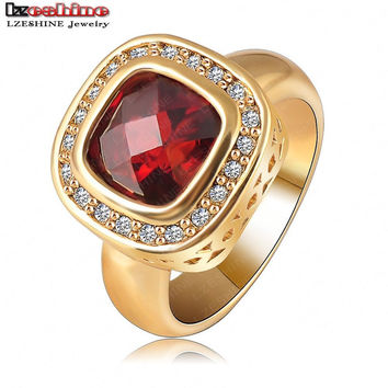 Retro Vintage Rings Real 18K Gold Plated Red Ring for Women Austrian Crystal SWA Element Fashion Exaggerated Anillos Ri-HQ1015-C