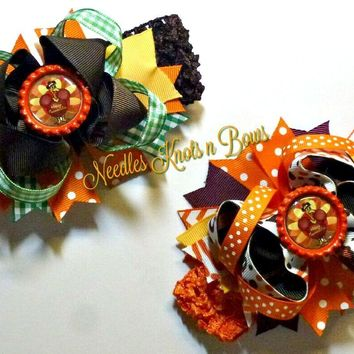 Thanksgiving Hair bow Set, Turkey Hair Bow, Over The Top Turkey, Girls Accessory, Girls Thanksgiving Headband, Twins