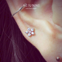 16g CZ Studded Sparkly flower Barbell Ear Piercing Stud, cartilage earrings tragus helix conch / 316L/ Sold as piece/ labret bar(optional)