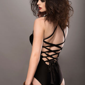 BLACK LACED BACK ONE PIECE BATHING SUIT