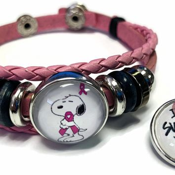 Breast Cancer Awareness Snoopy Survivor Pink Leather Bracelet W/2 Snap Jewelry Charms New Item