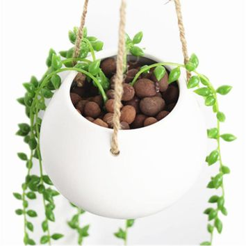White Mini Decorative Ceramic Hanging Planter Flower Pot Water Planter Plant Vase