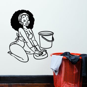 Vinyl Wall Decal Sexy African Black Woman Housewife Stickers (2316ig)