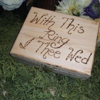 With This Ring I Thee Wed Rustic Big Box Ring Bearer Pillow Engraved