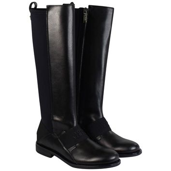 Versace Girls Black Leather High Top Boots