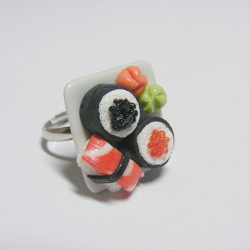 Sushi Miniature Food Ring - Miniature Food Jewelry,Handmade Jewelry Ring