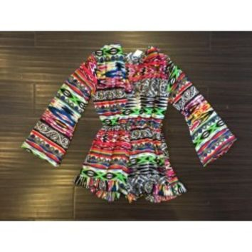 So Nikki Long Sleeve Romper in Printed Goods - Tweens & Juniors