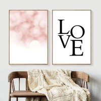 Love Quotes Pink Wall Art Canvas Painting Nordic Posters And Prints Canvas Poster Pop Art Wall Pictures For Living Room Decor