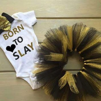 BORN TO SLAY NEWBORN TUTU SET, BABY GIRL OUTFIT
