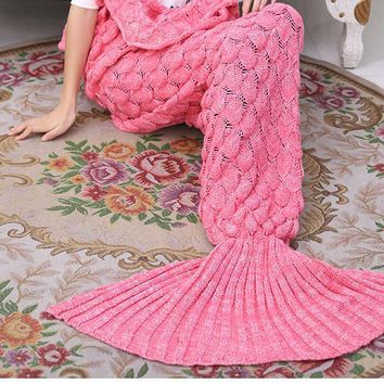 Pink Soft Comfortable Knitted Mermaid Sofa Blanket