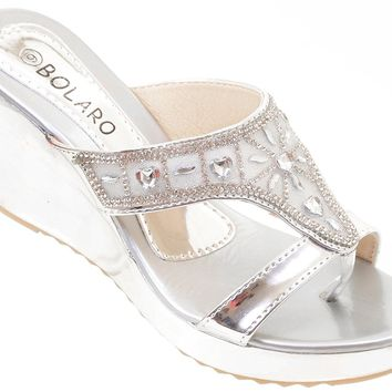 Metallic Crystal Bling Mesh Vegan Suede Wedge Flip Flop Sandal Women's