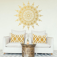 Mandala Large Decal,  Wall Decor, Boho Decal, Yoga Poster, Printable Art, Gold Wall Decal, Living Room Wall Decor, Window Sticker  #007