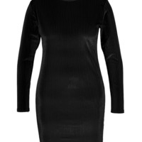 Plus Aly High Neck Rib Velvet Bodycon Dress | Boohoo