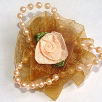 shabby chic gold and peach rose hair clip- girly hair accessories- flower girl hair