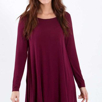 Piko T-Shirt Dress with Long Sleeves in Dark Maroon D2316-1-DK.MAROON