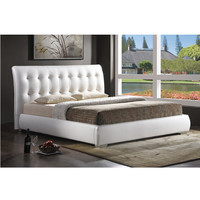 Jeslyn Modern Full Bed Frame with Tufted Headboard