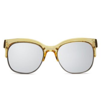quay - bronx half-rimmed sunglasses - coffee with silver mirror lens
